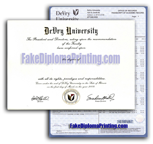 devry university diploma transcripts