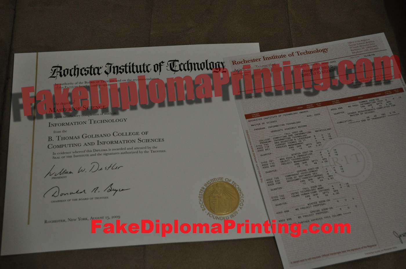 Rochested Diploma and Transcrits