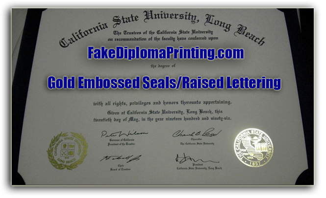 Diploma from CSU Long Beach