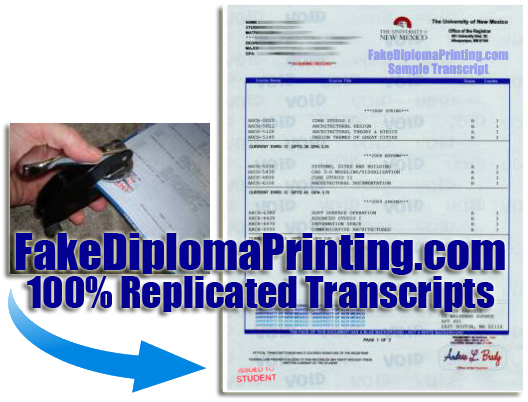 embossed sample college transcripts
